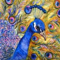 """Prince Peacock, modern bird art"" by schulmanart"