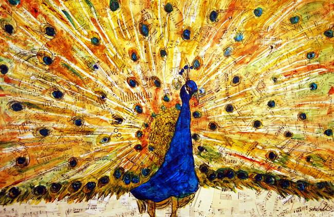 Schirmer Peacock, modern bird art