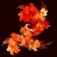 Dancing Firebirds Abstract Art Print Art Prints & Posters by Oni Hazarian