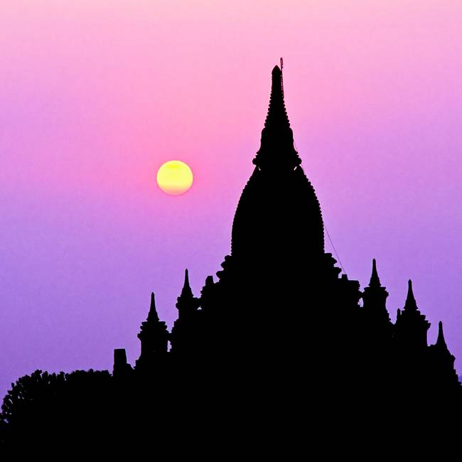 Sunset temple in Bagan, Burma