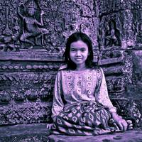 Little girl posing at the Bayon, Angkor, Cambodia