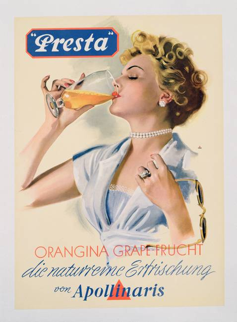 Poster advertising 'Presta' fruit flavoured minera