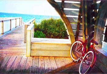 Ocean Boardwalk With Bike By Jane Schnetlage