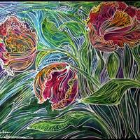 PARROT TULIPS BATIK ABSTRACT by Marcia Baldwin