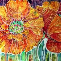Poppies in Batik on Canvas ~ An original by Marcia by Marcia Baldwin