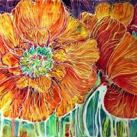 Poppies in Batik on Canvas ~ An original by Marcia by Marcia Baldwin