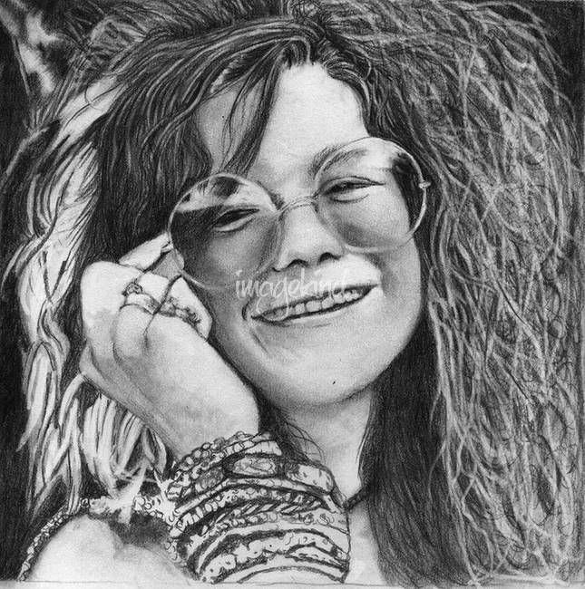 It's just an image of Witty Janis Joplin Drawing