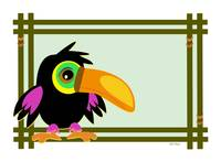 Baby Toucan in a Wooden Frame