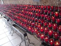 Beautiful side view of candles burning at Chapel