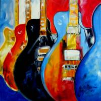 GUITARS POP ART M BALDWIN ORIG OIL by Marcia Baldwin