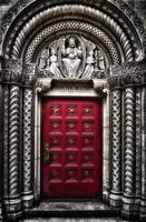 Red church door in Midtown Manhattan