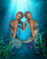 Mermaid Twins Under The Sea