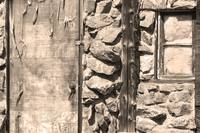 Old Wood Door Window and Stone Sepia  BW