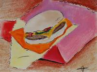 Cheeseburger - Soft Oil Pastels