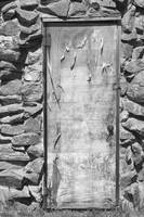 Old Wood Door and Stone  BW