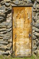 Old Wood Door and Stone