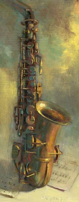 Saxophone by artist Hall Groat II. Giclee prints, art prints, a still life, fine art print; from an original oil painting