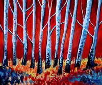 Crimson Birch Trees