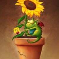 """""""Sunflower ; Dragon"""" by Tooshtoosh"""