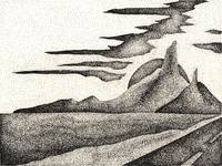 Pen & Ink Fine Art Of A Southwestern Landscape