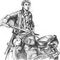A man and his bike... Art Prints & Posters by Ally Tate