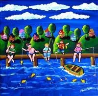 Children Fishing Fun Folk Art