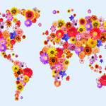 """""""Flower World Map"""" by ModernArtPrints"""