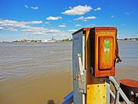 High Tide on the Mississippi River with Steamboat