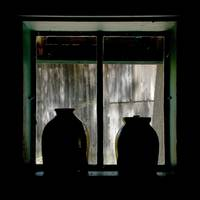 Jugs in window, shilhouettes