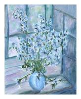 Blue and White Flowers on the Windowsill