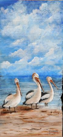 LOUISIANA PELICANS WILDLIFE PAINTING BUSY BODIES