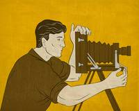 Cameraman vintage movie camera shooting