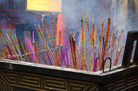 Close Up View of Incense Sticks Burning, Lama Temp