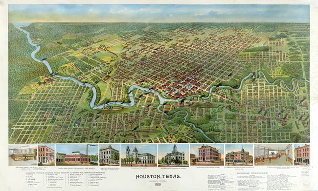 1891 ANTIQUE HOUSTON MAP