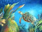 Sea eScape IV - Hawksbill Turtle Flying Free Posters
