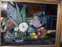Mixed media still life oil and stained glass