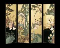 Four Panel Oriental Screen