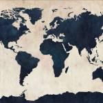 """World Map Distressed Navy"" by ModernArtPrints"