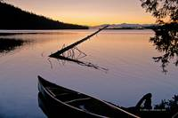 Leigh Lake Sunrise with Canoe Tip. Horizontal