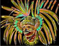 aztec skull warrior painting