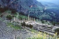 Temple of Apollo and Theatre, Delphi 1960 by Priscilla Turner