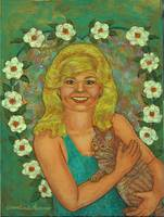 Woman Holding Cat Painting
