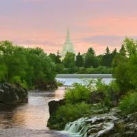 """20x24 Sunrise Waterfall Idaho Falls Temple"" by lightvoyages"