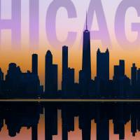Chicago Skyline Postcard by Roger Dullinger