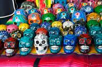 Hand made and painted skulls for sale at the Santa