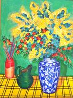 Blue vase and wattle