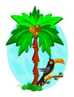 Tropical Palm and Toucan