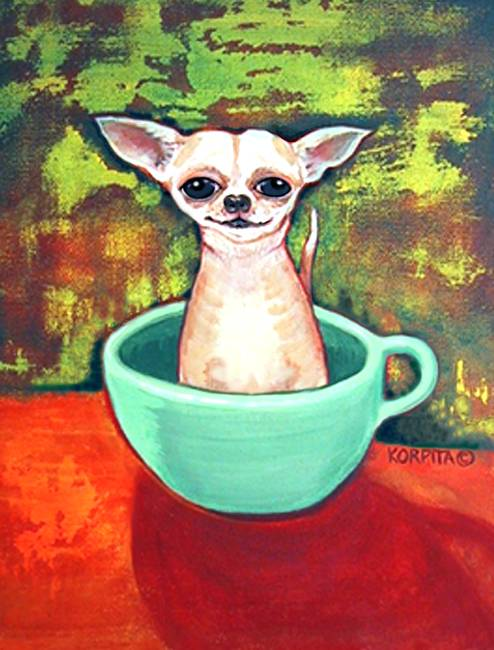 Jadite Fireking Teacup Chihuahua - Funny Dog