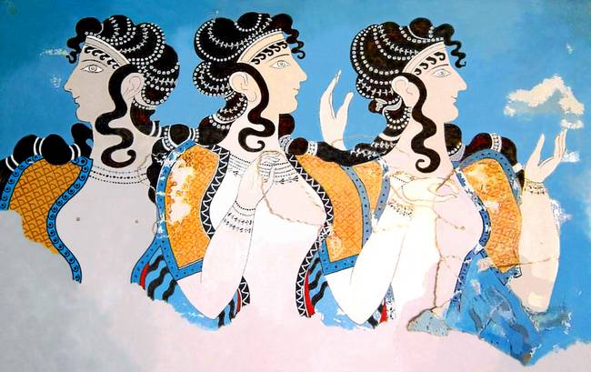 "Minoan ""Ladies in Blue"" Women Fresco"