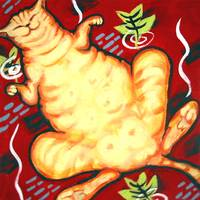Fat Cat on a Cushion - Orange Tabby Vintage Floral